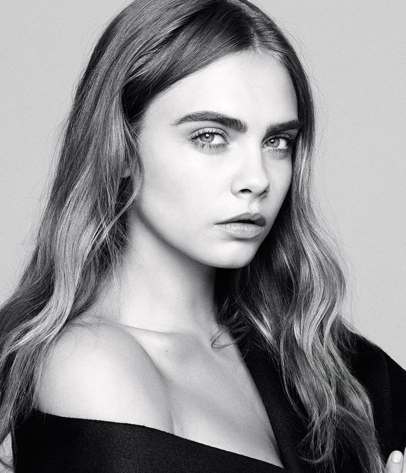 Кара Делевинь фотосессии 2016 черно-белый портрет