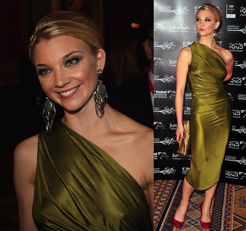 Натали Дормер лучшие образы красной дорожки 2005-2013 зеленое оливковое платье