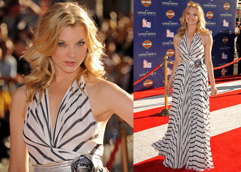 Натали Дормер лучшие образы красной дорожки 2005-2013 полосатое платье