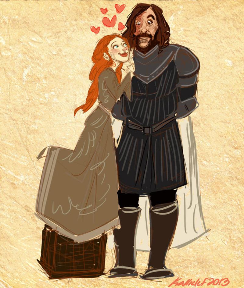 Игра Престолов иллюстрации арт Санса Старк и Сандор Клиган