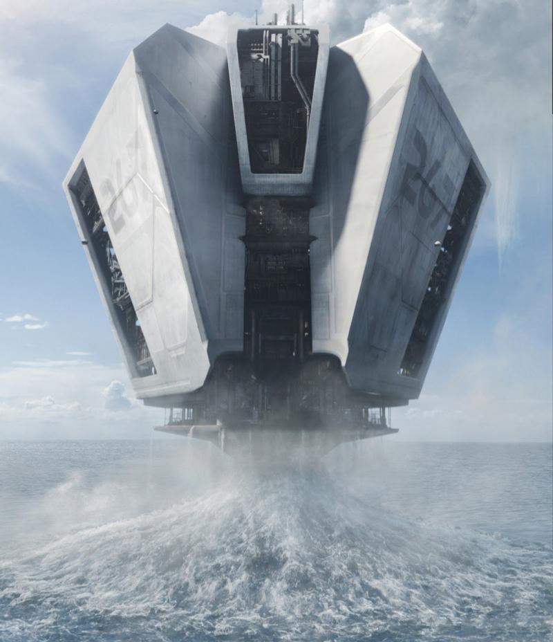 """Фильм """"Обливион"""", на фото гидроплатформа. которая качает воду с Земли"""
