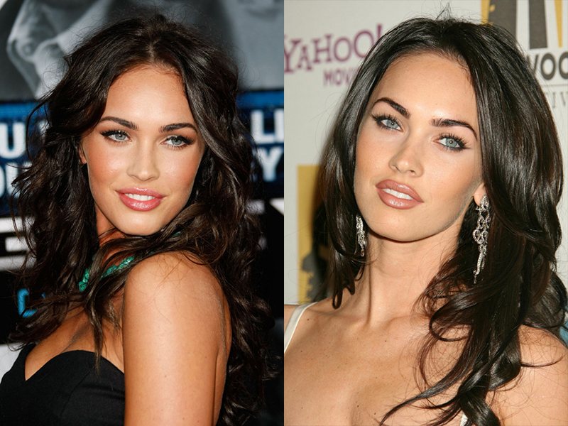 Самые шикарная красивые и сексуальные знойные и роковые брюнетки Голливуда с длинными волосами голубыми глазами Меган Фокс и черными волосами