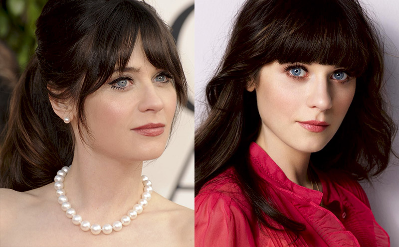 Голливудская актриса брюнетка с голубыми глазами и челкой и черными волосами