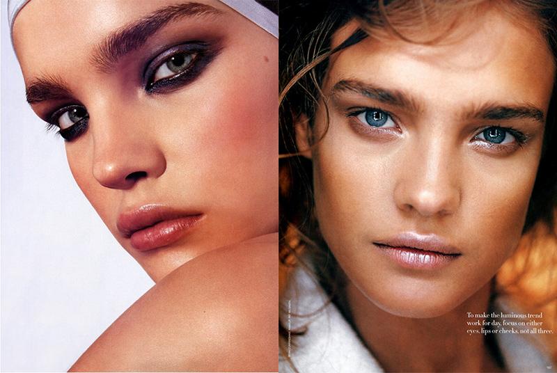 Наталья Водянова модель густые широкие черные невыщипанные брови