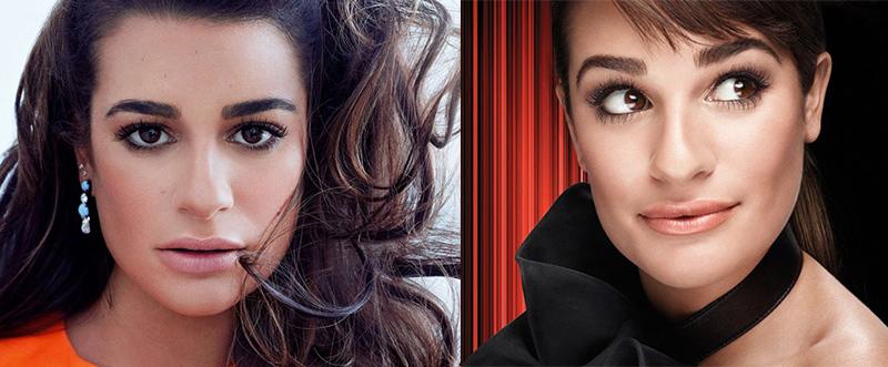Лиа Мишель невыщипанные густые широкие черные брови знаменитостей