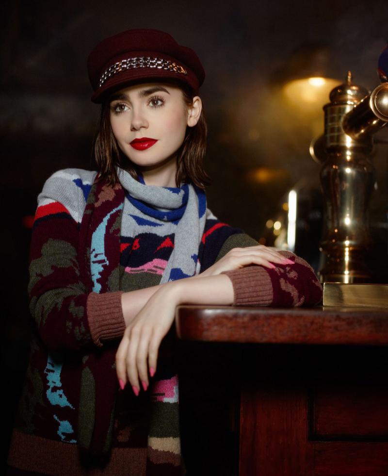 Лили Коллинз фотосесия в шляпе