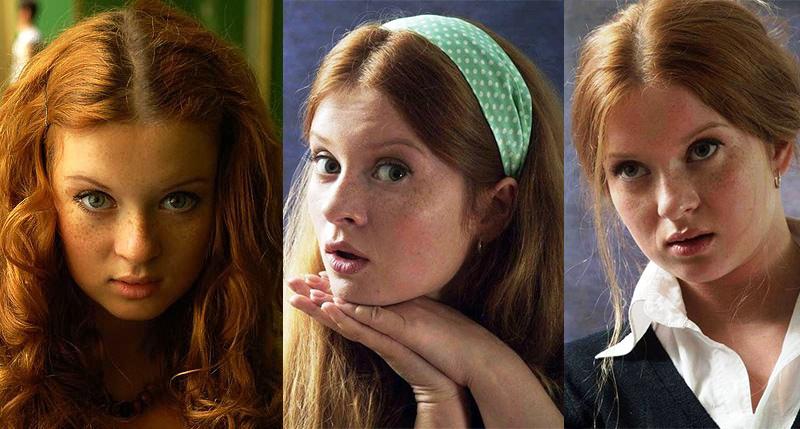 рыжая русская актриса с веснушками