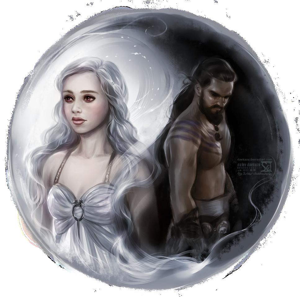 Кхалиси и кхал Дрого арт иллюстрация игра престолов