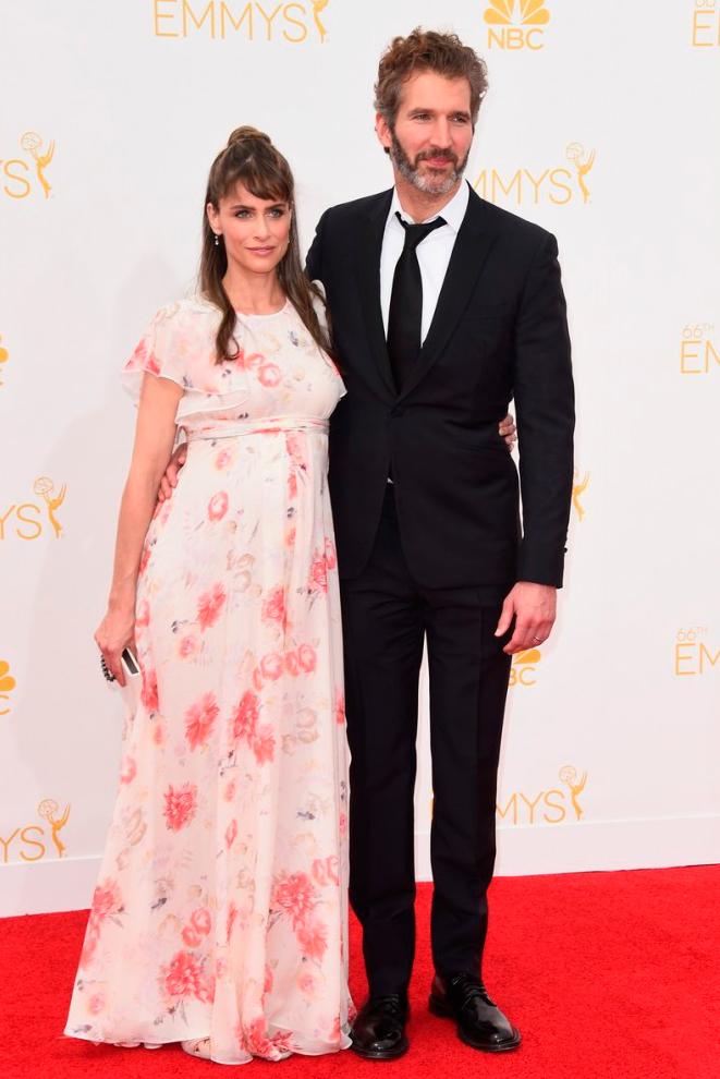 Дэвид Бениофф со своей беременной женой Амандой Пит Эмми 2014