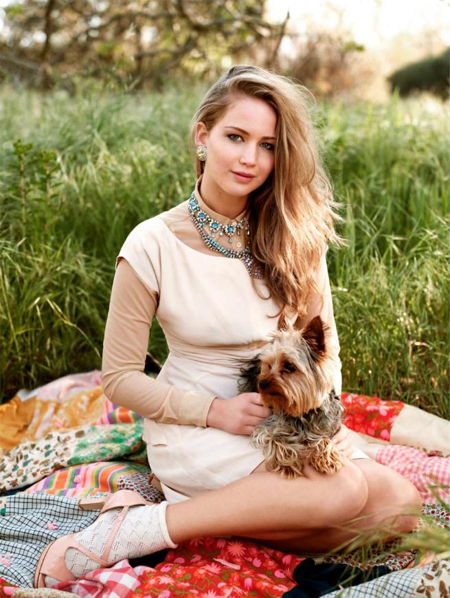 80 фото Дженнифер Лоуренс с собачкой