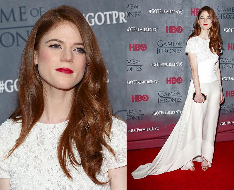 Роуз Лесли в белом платье