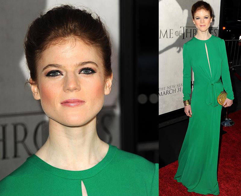 Роуз Лесли в зеленом платье